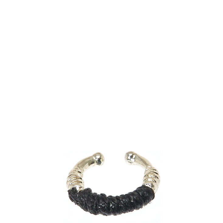 Black Wrapped Faux Helix Hoop,