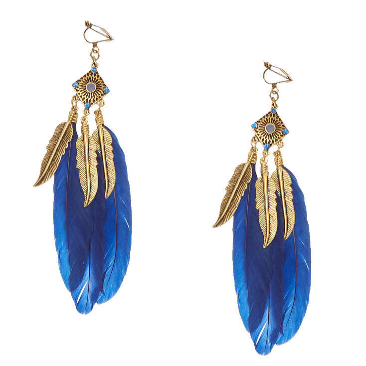 Burnished Gold Tone & Navy Feather Clip-on  Drop Earrings,