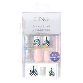 Aztec Faux Nail Set - Pink, 24 Pack,