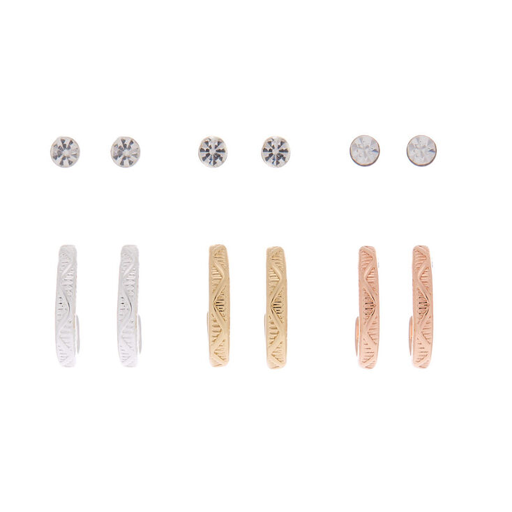 Mixed Metal Hoop & Stud Earrings - 6 Pack,