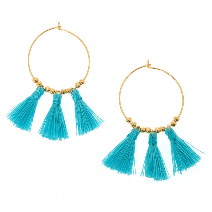 Turquoise Tassel Hoop Earrings,