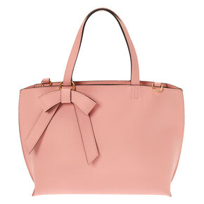 Bow Accent Satchel Crossbody Bag - Pink,