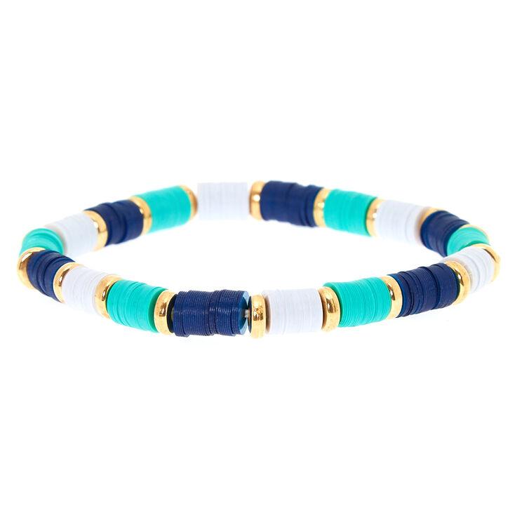 Turquoise & Navy Disk Stretch Bracelet,