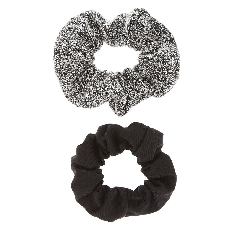 Small Black & Gray Hair Scrunchies - 2 Pack,