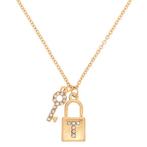 Gold Lock & Key Initial Pendant Necklace - T,
