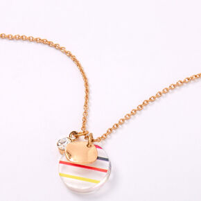 Gold Rainbow Striped Circle Pendant Necklace,