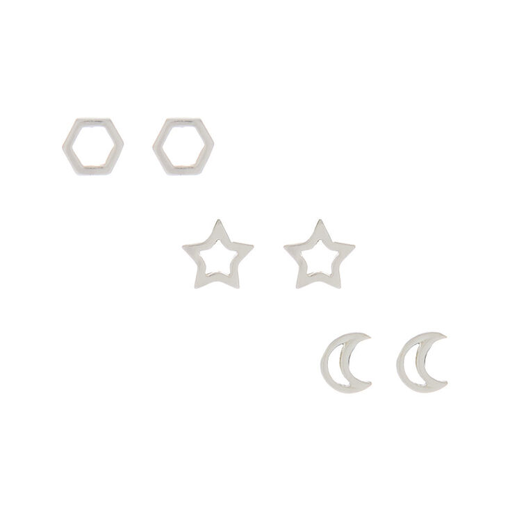 Sterling Silver Celestial Stud Earrings - 3 Pack,