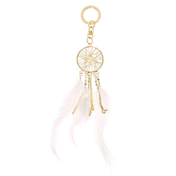 White Dreamcatcher Keychain,