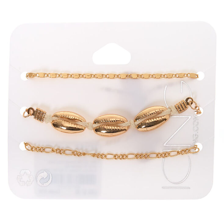 Gold Cowrie Shell Chain Bracelets - 3 Pack,
