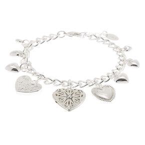 Silver Heart Locket Charm Bracelet,