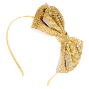 Chevron Glitter Bow Headband - Gold,