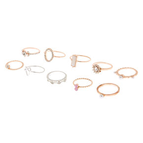 Mixed Metal Embellished Rings - 10 Pack,