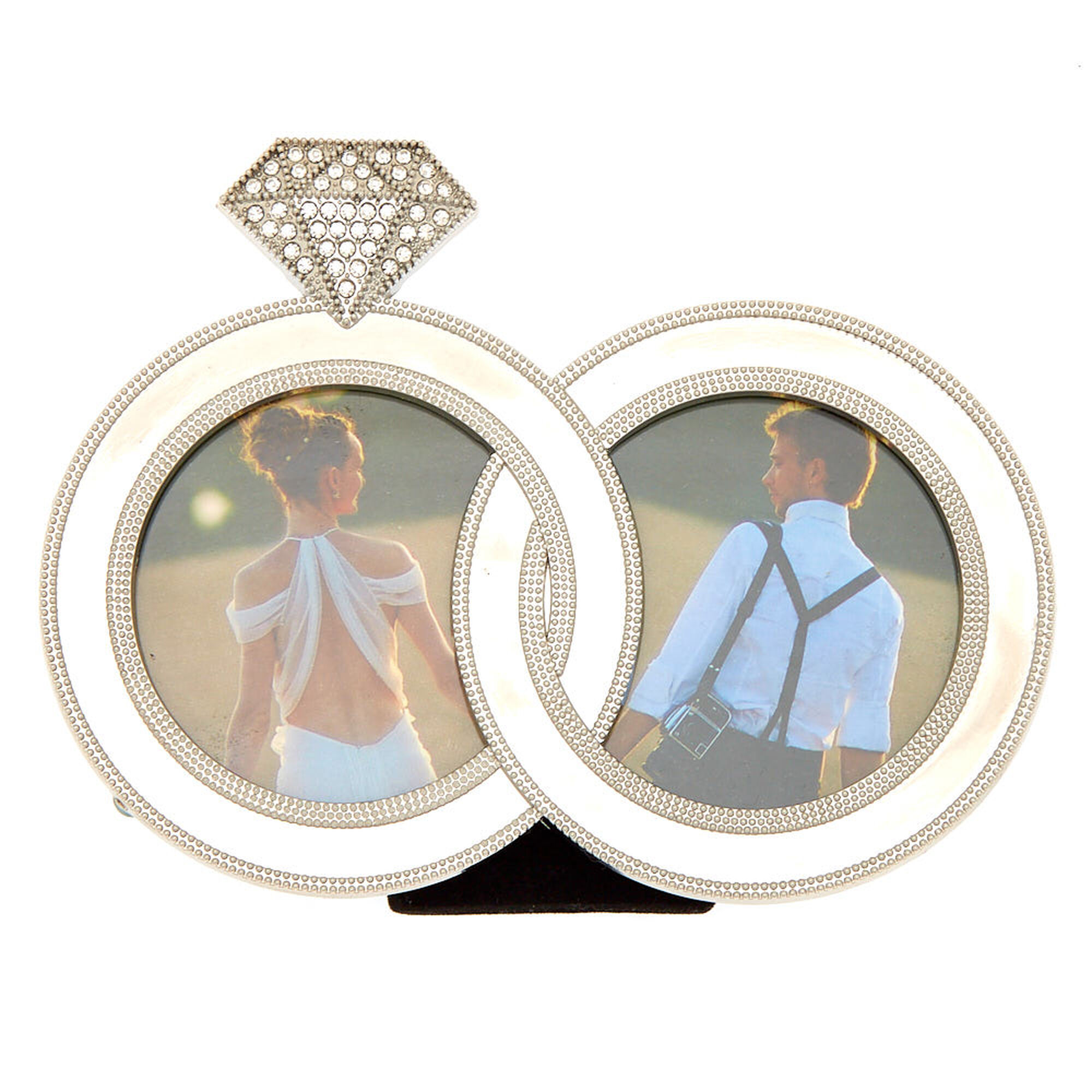 Silver Intertwined Wedding Rings Double Photo Frame