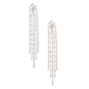"Silver Rhinestone 3.5"" Art Deco Linear Drop Earrings,"
