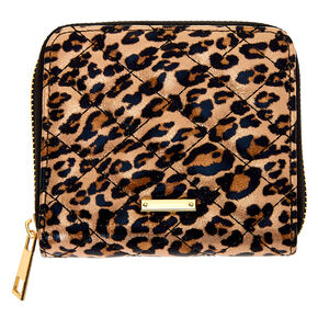 Quilted Leopard Mini Zip Wallet - Brown,