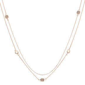 Rose Gold Glitter Heart Square Strand Necklace,