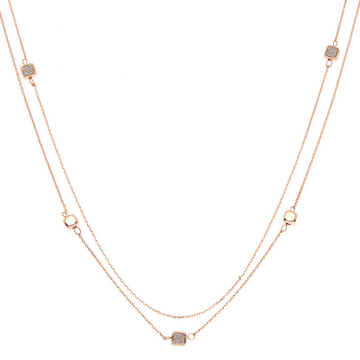 Rose Gold Glitter Heart Square Strand Necklace,