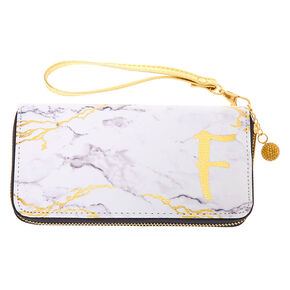 Marble Initial Wristlet - F,