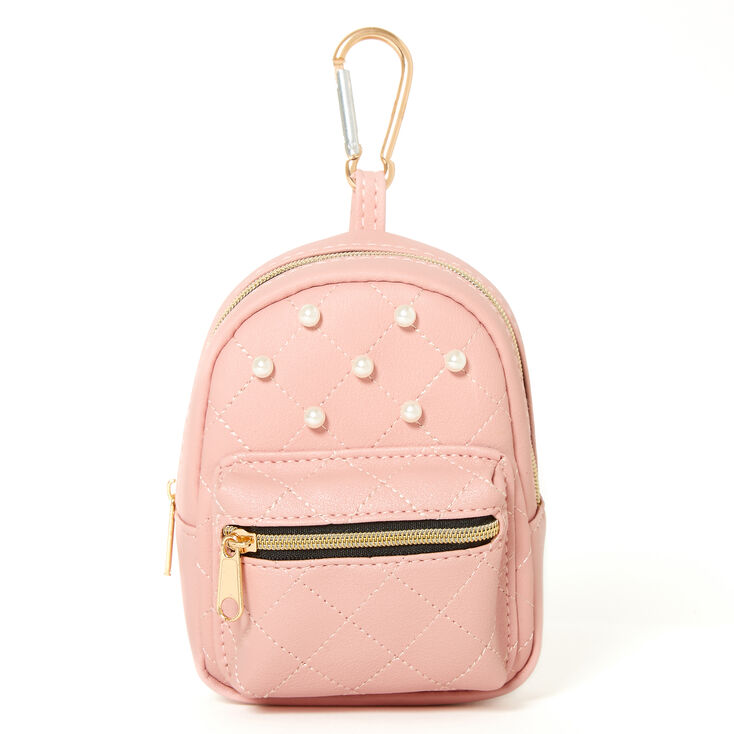 Quilted Pearl Mini Backpack Keychain - Pink,