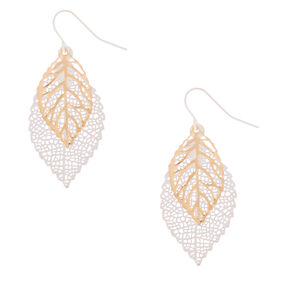 "Mixed Metal 1.5"" Layered Leaf Drop Earrings,"