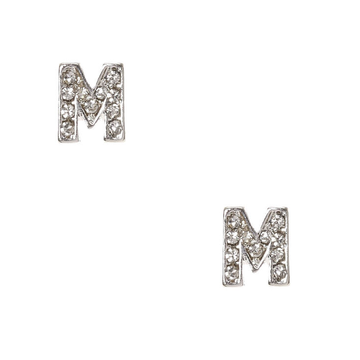 "Silver Tone Faux Crystal Initial ""M"" Stud Earrings,"
