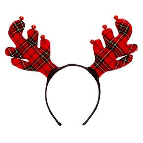 Plaid Reindeer Antlers Headband - Red,