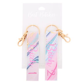 Best Friends Best Bitches Marble Keychains - 2 Pack,