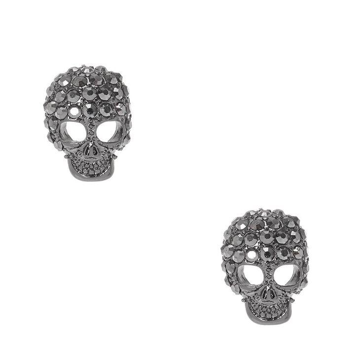 Bedazzled Gray Skull Stud Earrings,