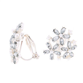 Silver Cluster Flower Clip On Stud Earrings,