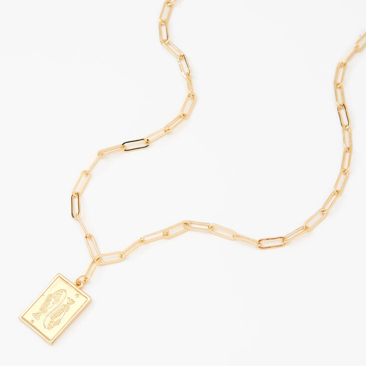 Gold Rectangle Zodiac Symbol Pendant Necklace - Pisces,
