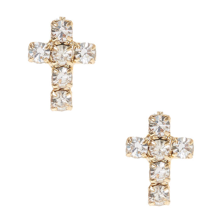 Faux Crystal Lined  Gold Tone Cross Stud Earrings,