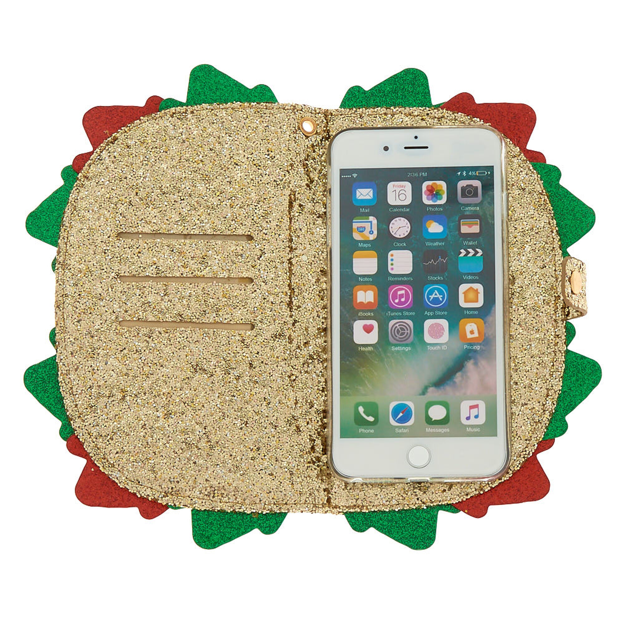 glitter taco folio phone case gold icing us