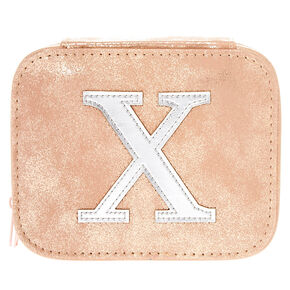 "Blush Pink ""X"" Initial Jewelry Case,"