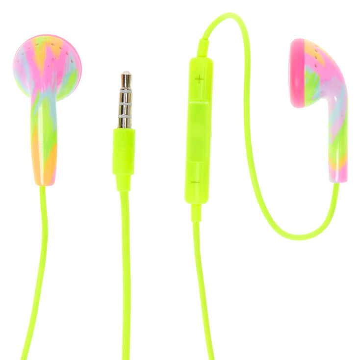 Neon Tie Dye Earbuds with Mic - Yellow,
