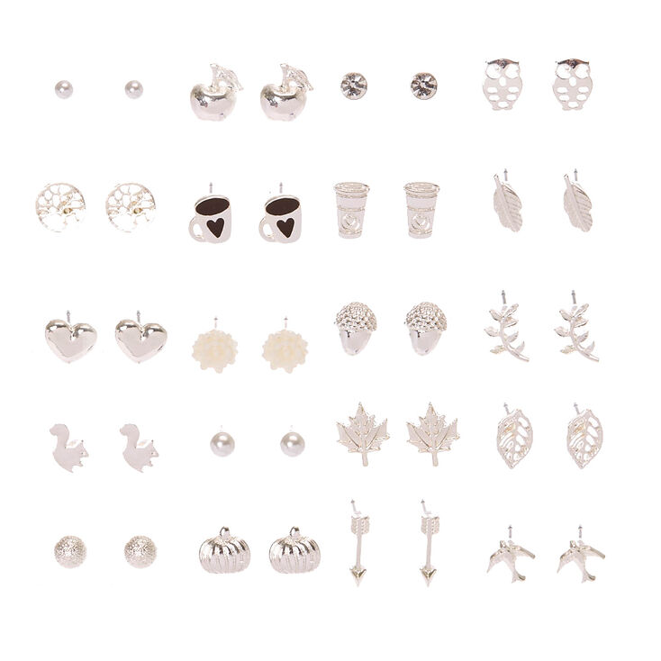 Silver Tone Autumn Motif Stud Earrings Set of 20,