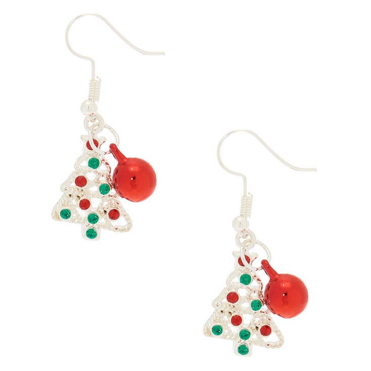 Silver Christmas Tree Bell Drop Earrings,