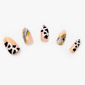 Marble Cow Stiletto Faux Nail Set - 24 Pack,