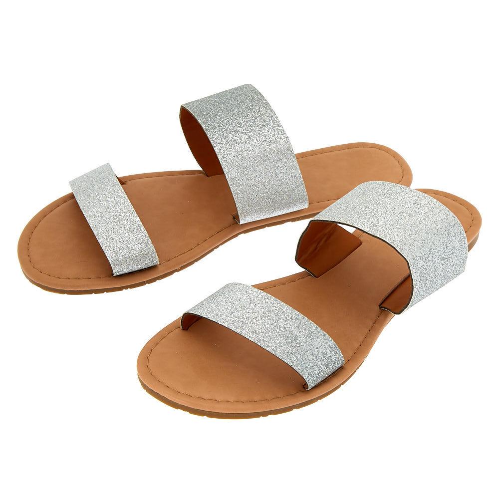 Glitter Double Strap Sandals - Silver