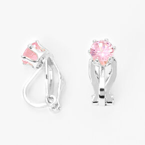 Silver Cubic Zirconia Round Clip On Stud Earrings - Pink,