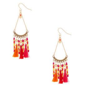 """Silver 3"""" Beaded Tassel Drop Earrings - Orange,"""