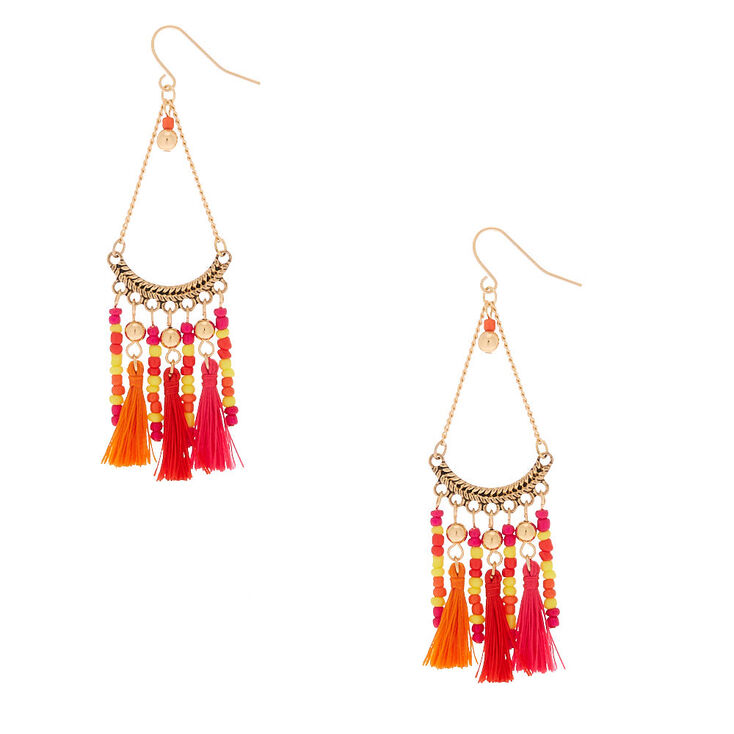"Silver 3"" Beaded Tassel Drop Earrings - Orange,"