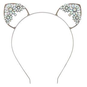 Hematite Floral Gem Cat Ears Headband,