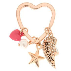 Rose Gold-Tone Mother Daughter Keyring Set,