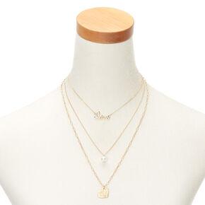 Gold Pearl Love Multi Strand Necklace,