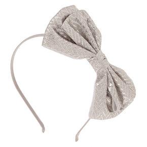 Chevron Glitter Bow Headband - Silver,
