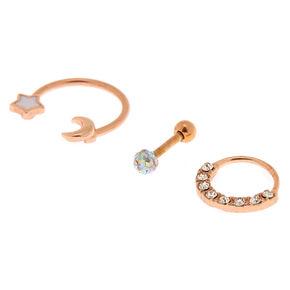 Rose Gold 14G Celestial Cartilage Earrings - 3 Pack,