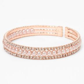 Rose Gold Rhinestone & Pearl Triple Row Cuff Bracelet,