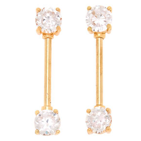 Gold Cubic Zirconia 14G Nipple Rings - 2 Pack,