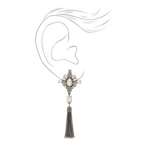 "Hematite 3"" Velvet Glam Fringe Drop Earrings,"