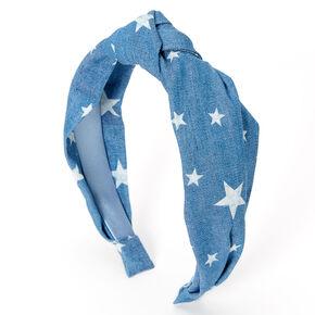 Denim Stars Knotted Headband - Blue,